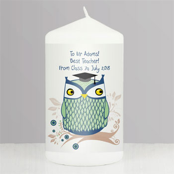 Personalised Male or Female Owl Teacher Thank You Candle