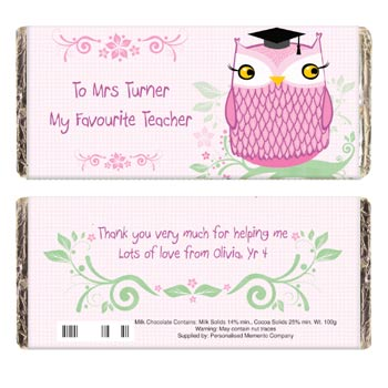 Mr or Mrs Owl Teacher Chocolate Bar - Free Delivery