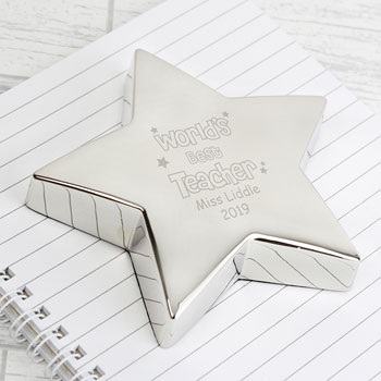 Personalised World's Best Teacher Star Paperweight