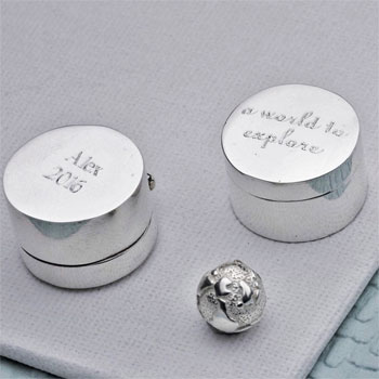 Personalised Sterling Silver World to Explore Keepsake Gift