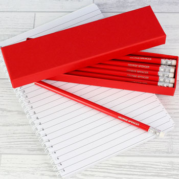 Box of Personalised Red Pencils Back to School Gift