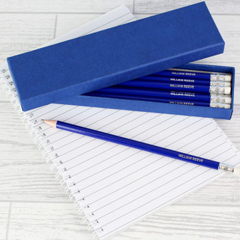 Box of 12 Personalised Blue Pencils School Supplies