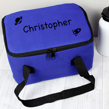 Boy's Personalised Blue Insulated Lunch Sandwich Bag