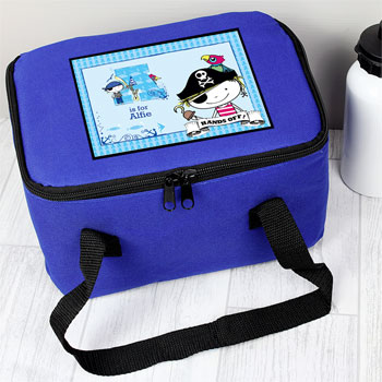 Boy's Blue Personalised Pirate Insulated Lunch Sandwich Bag
