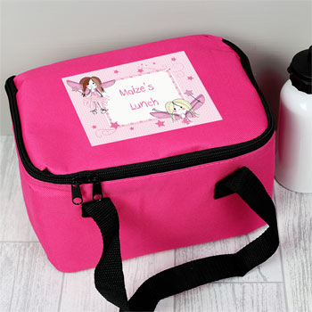 Girl's Personalised Pink Fairy Insulated Sandwich Lunch Bag