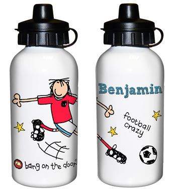 Personalised Bang on the Door Football Drinks Water Bottle