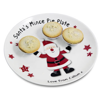 Children's Starry Santa Personalised Mince Pie Xmas Plate