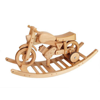 3 in 1 Wooden Rocker/Ride-On Motorbike Toy (Natural Wood)