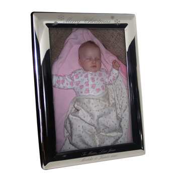 Merry Christmas Silver Plated Engraved Photo Frame 5x7