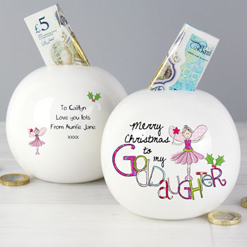 Exclusive Goddaughter Personalised China Christmas Money Box