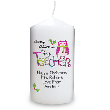 Exclusive Merry Christmas Teacher Personalised Candle