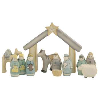 Boxed Wooden Nativity Set by East of India