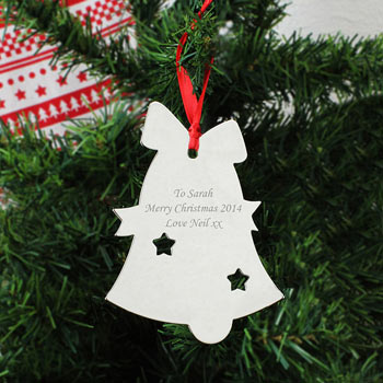 Engraved Christmas Bell Tree Decoration