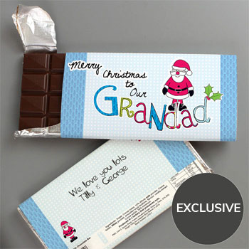 EXCLUSIVE - Grandad Christmas Chocolate Bar - Free Del