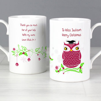 Personalised Teacher Christmas Owl Mug