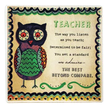 Decorated Ceramic Teacher Tile