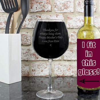 Giant Personalised Engraved Whole Bottle of Wine Glass