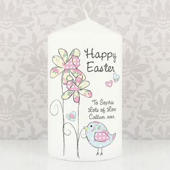 Pretty Floral Chick Personalised Easter Candle