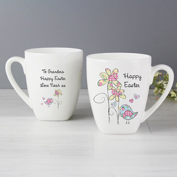 Daffodil and Chick Personalised Easter Latte Mug