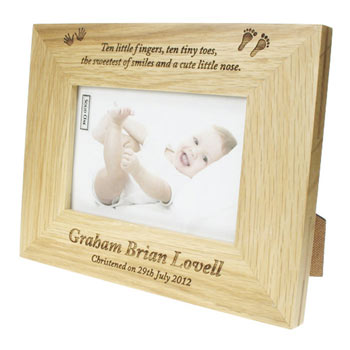 Solid Oak Engraved Personalised Christening Photo Frame