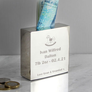 Personalised Engraved Baby's First Rocking Horse Money Box