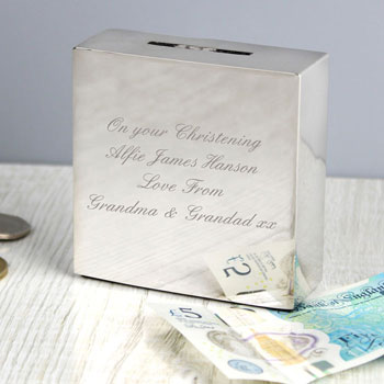 Personalised Engraved Square Silver Plated Child's Money Box