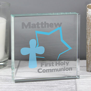 Personalised Boy's Glass Christening or Communion Gift Token