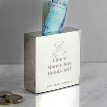 Personalised Engraved Square Teddy Bear Baby Money Box