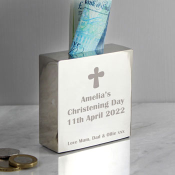 Engraved Personalised Square Christening Cross Money Box