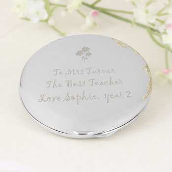Engraved Teachers Round Compact Handbag Mirror