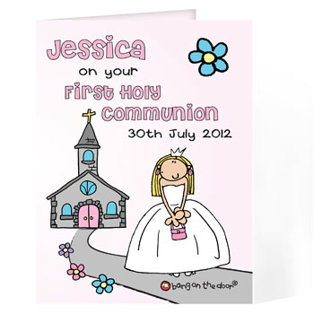 Bang On The Door Personalised First Holy Communion Card