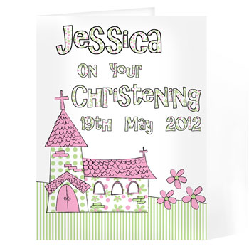 Personalised Church Christening Card Pink or Blue
