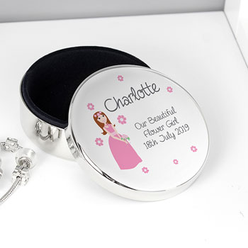 Personalised Fabulous Bridesmaid Round Trinket Box