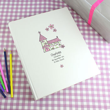 Personalised Pink Church Interleaved Christening Photo Album