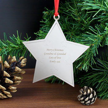 Personalised Engraved Metal Star Christmas Tree Decoration