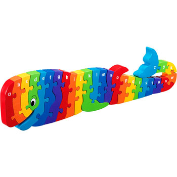 Fair Trade Wooden Whale A to Z Jigsaw Puzzle by Lanka Kade