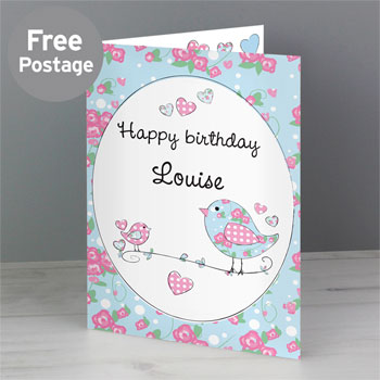 Personalised Floral Birds Female Birthday Card