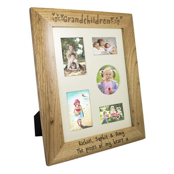 Personalised Engraved Oak Grandchildren Frame 10 x 8 Inch