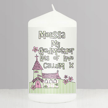 Whimsical Church Personalised Godmother Keepsake Candle