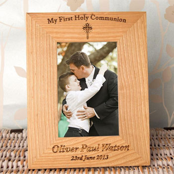 Personalised Engraved Oak 1st Holy Communion Frame Portrait