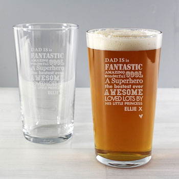 He is... Personalised Beer Pint Glass Daddy Gift