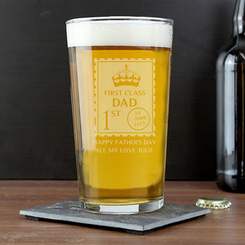 Personalised Fathers Day 1st Class Pint Glass
