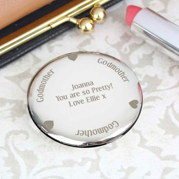 Personalised Engraved Silver Plated Godmother Compact Mirror