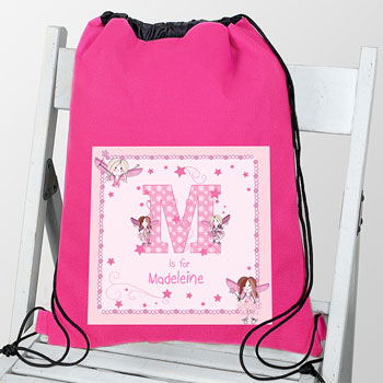 Girl's Personalised Pink Fairy Letter Waterproof Kit Bag