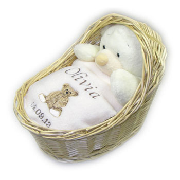 Personalised Baby Gift Set in Wicker Crib Neutral
