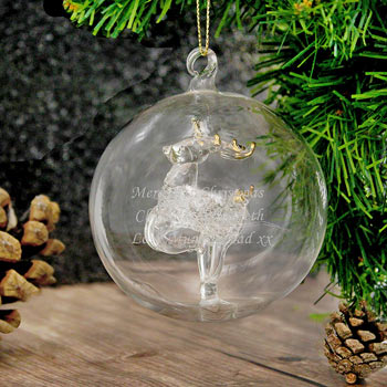 Engraved Glass Reindeer Christmas Tree Bauble