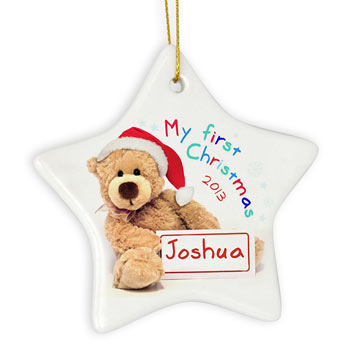 Personalised My First Christmas Teddy Star Decoration