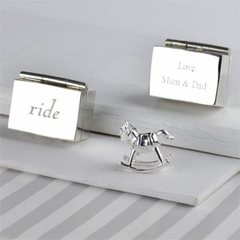 Silver Personalised Christening Rocking Horse Keepsake Box
