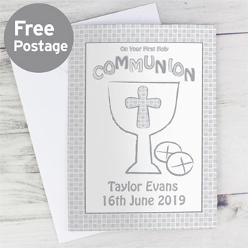 First Holy Communion Card Grey Pink or Blue