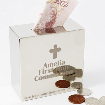 Engraved Square Personalised 1st Holy Communion Money Box